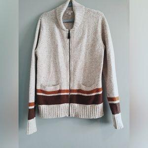 like new cream tan & brown zip up cardigan sweater